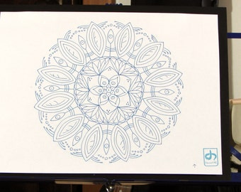 Bloom Mandala - Original Ink Drawing on Paper 10x13 Mounted