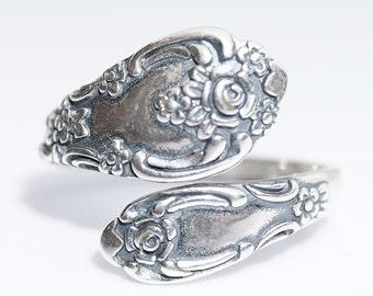 Sterling Silver Spoon Ring, (925) vintage spoon ring, Vanessa replica
