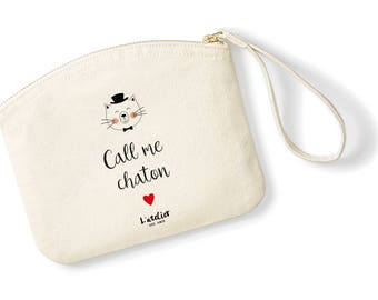 T13W Kit call me Kitty pouch in organic cotton, toiletry bag, clutch, gift, teacher, personalized clutch