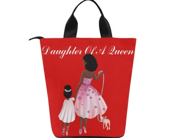Neoprene Insulated Lunch Bag, Lunch box, Lunch Tote Bag,Large,African American Mother Daughter Gift,