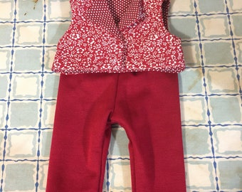 American made girl doll clothes red pants red crop top reversible top