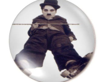 Set of 2 charlie chaplin round glass cabochons 30mm