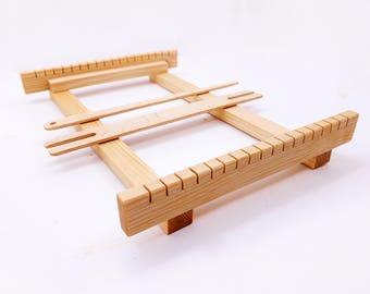 """11x8"""" Weaving loom kit for beginners, hand weaving loom, tabletop small weaving loom, Frame loom weaving set"""