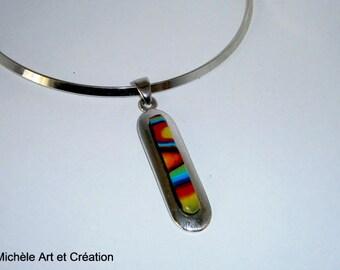 long multicolor polymer clay pendant