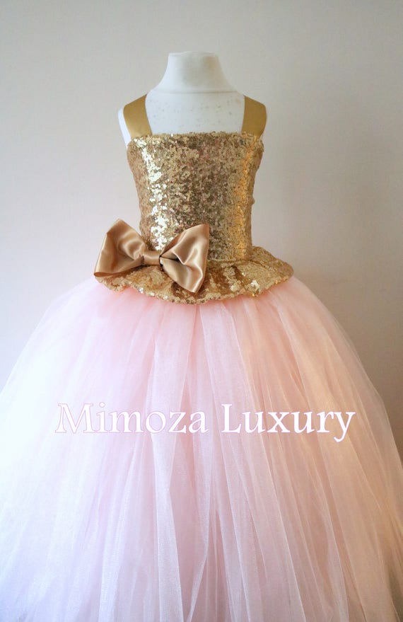 Gold Blush Flower Girl Dress, gold bridesmaid dress, couture flower girl gown, bespoke girls dress, tulle princess dress, gold blush tutu