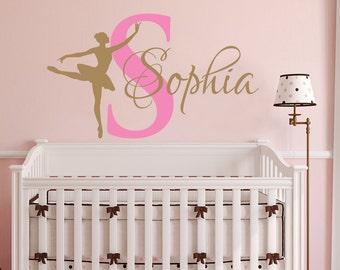 Ballerina WALL DECAL GIRL Name Dancing Nursery Ballet Dance Vinyl Decals Sticker Custom Decals Personalized Girls Bedroom Decor Room x272
