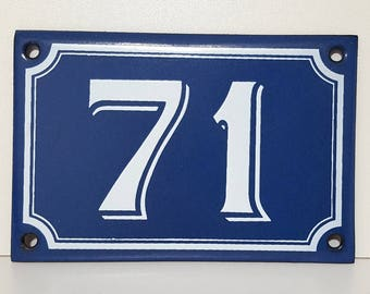 Vintage French enamel HOUSE NUMBER SIGN 71 Blue and white