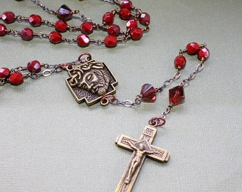 Five Decade Rosary - Wire Wrapped Chain - Antique Copper Crucifix and Jesus Crown of Thorns Medal