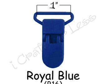 "50 Suspender Clips / Plastic Pacifier KAM Clips - 1"" Royal Blue - for Paci Pacifier Holder plus Instructions - SEE COUPON"