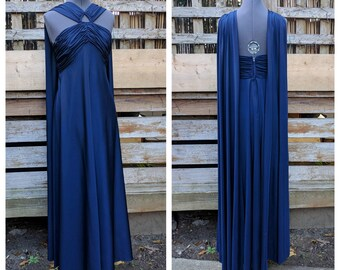Vintage 1960s or 70s MAJESTIC full length keyhole front navy blue evening dress with over the shoulder train