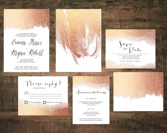 Gold Foil Calligraphy Wedding Invitation Suite Custom Design