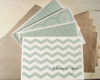 Modern Thank You Cards - Dusty Teal Thank You Notes, Chevron Mod Circles Medallions Wood Grain, Geometric Stationery Thank You Card Set