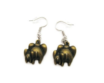 Elephant Earrings Elephant Baby Elephant Mom Earrings  Elephant Jewelry  Elephant Baby  Jewelry  Cute Elephant Earrings Gifts Under 10