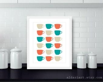 Tea Cups Digital Print Kitchen Wall Art  - Teal Coral Tan Beige - Spring Summer Autumn Home Decor - Under 20
