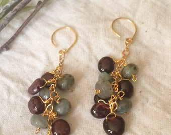 Garnet and labradorite cluster earrings