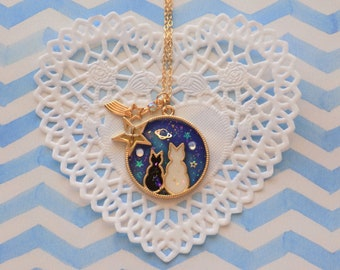 Luna and Artemis Galaxy Necklace