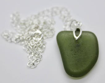 Green sea glass pendant, sterling silver chain, sterling silver bail, sea glass and sterling silver necklace, gift for her
