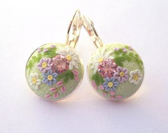 Light Green Silver Earrings Polymer Clay Earrings Clay Embroidery Floral Earrings Polymer Clay Jewelry Art Deko Earrings Gift for Her