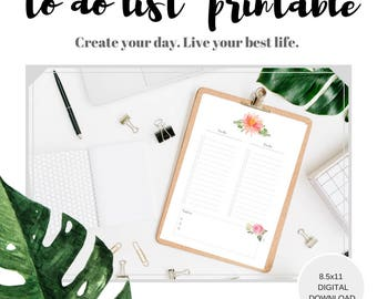 To do list printable, digital download to do planner page, Feminine floral planner insert to do list, organizing list,