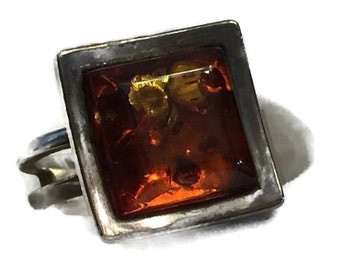 925 Sterling Silver Copal Amber Square Cut Faceted Ring, Architectural Design, Size 8.25