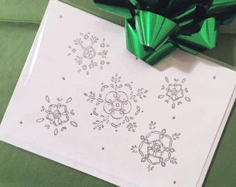 Silver Snowflake on White Greeting Card