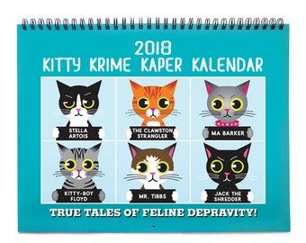 Cat Calendar -Kitty Krime Kaper Kalendar 2018 Cat Wall Calendar ON SALE! Was 19.50, now 6.00