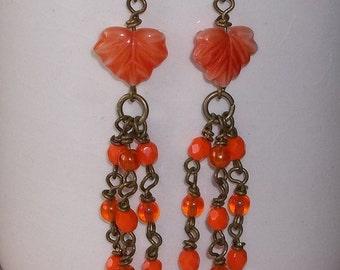 Orange Leaf & Czech glass Chandelier Earrings