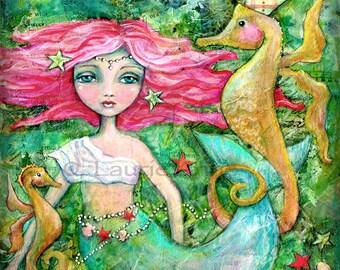 8x8 Mixed Media Mermaid Print, Seahorse and Mermaid Quote, Ocean Art, Surf Art, Inspirational Beach Print, Key West Art