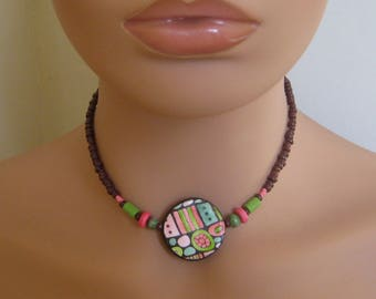 "Polymer Clay Pink - Melon 14"" Choker, Hippie/Boho/Rustic/Ancient/Abstract/Glazed/Chic"