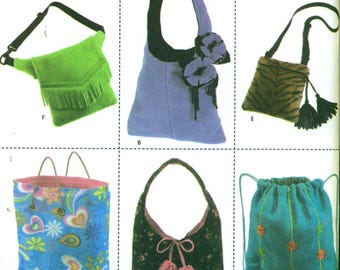 Simplicity 4778 PURSES TOTES BAGS in Fleece Hobo Backpack Tote Shoulder Hip Bag ©2004
