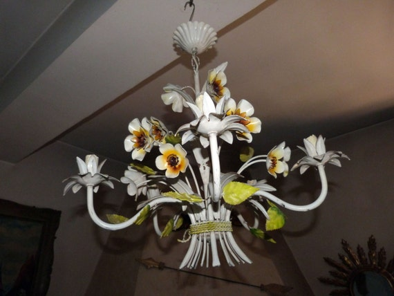 Antique french toleware tole chandelier lamp flowers tole like this item mozeypictures Image collections
