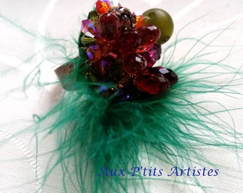 """ring """"Régine"""" Swarovski crystal and feather"""