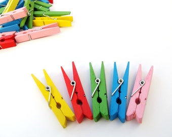 Clothes pins, woods pegs for kids Artwork display hanger- 5 Colorful Clothes Pins - kids wall art- rainbow colors, baby shower decoration