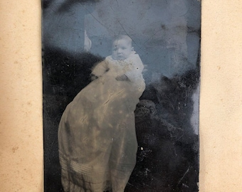 Very Obvious Hidden Mother and Baby Tintype