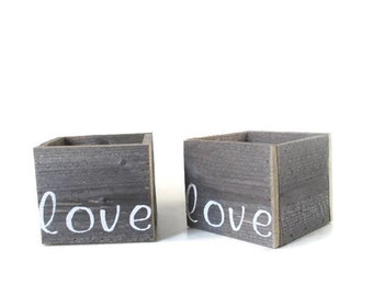 Small Wood Boxes - 2 Love Planters - Rustic Garden and Wedding Decor