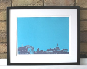 London screenprint, limited edition hand pulled print, view across the Thames river, London