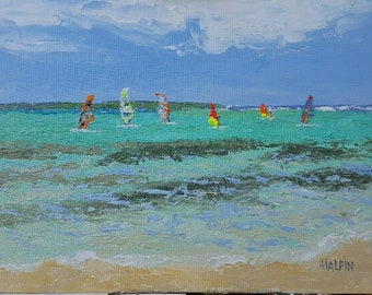 "Sorobon Beach, Bonaire, acrylics on canvas panel, 12""x16"", plein air, original, signed"