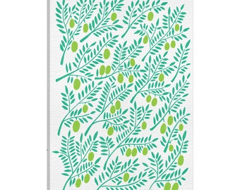 iCanvas Green Olive Branches Artprint Gallery Wrapped Canvas Art Print by Cat Coquillette