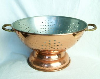 Vintage copper colander with brass handles…Portuguese copper colander...copper strainer…made in Portugal.
