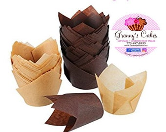"2"" x 3-1/2"" Chocolate Brown &  Natural •  Tulip Cupcake Baking Cups • Liners • Cupcakes • Muffin Cup • Birthdays • Weddings"
