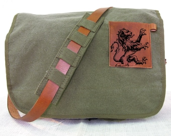 canvas messenger bag with leather accents lion bag - olive green