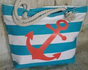 Coral Anchor Beach Bag, Monogrammed Tote Bag, Destination Wedding Welcome Bag, Anchor Beach Tote, Anchor Beach Monogram Tote Bag