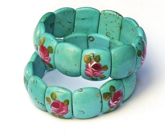 Turquoise Magnesite Stretch Cuff Bracelet Hand Painted Roses Boho Jewelry FREE SHIPPING