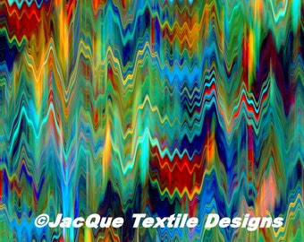 Fashion Textile Artist Streaks of Color in Sky Hand Created Jersey Lycra Spandex Knit Fabric
