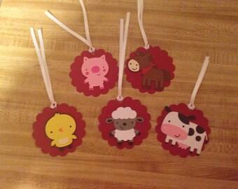 Set of 10 Farm Animal Gift Tags