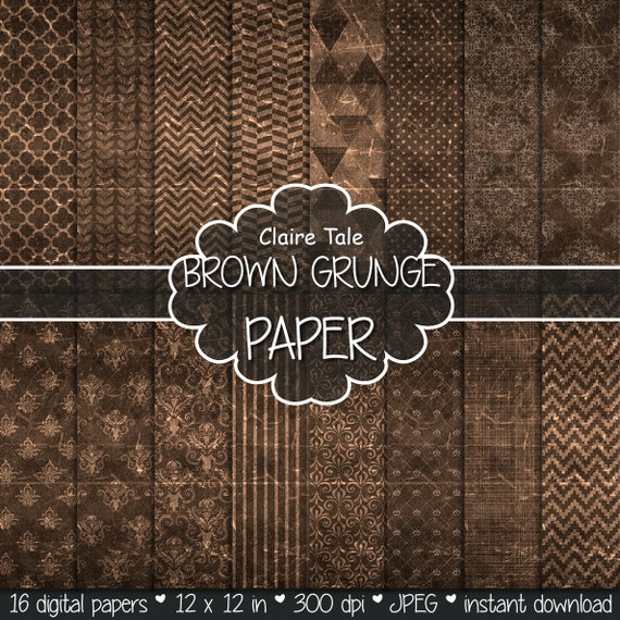 """Brown digital paper: """"BROWN GRUNGE PAPER"""" with chevrons, crosshatch, stripes, damask, polka dots / brown vintage paper / brown shabby chic"""