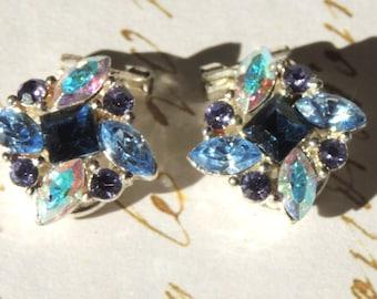 Vintage Blue Rhinestone Earrings Clip On Vintage Jewelry