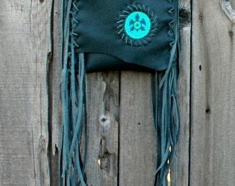 Green leather handbag, Beaded turtle bag  ,  Fringed leather handbags , Phone bag , Forest green festival bag