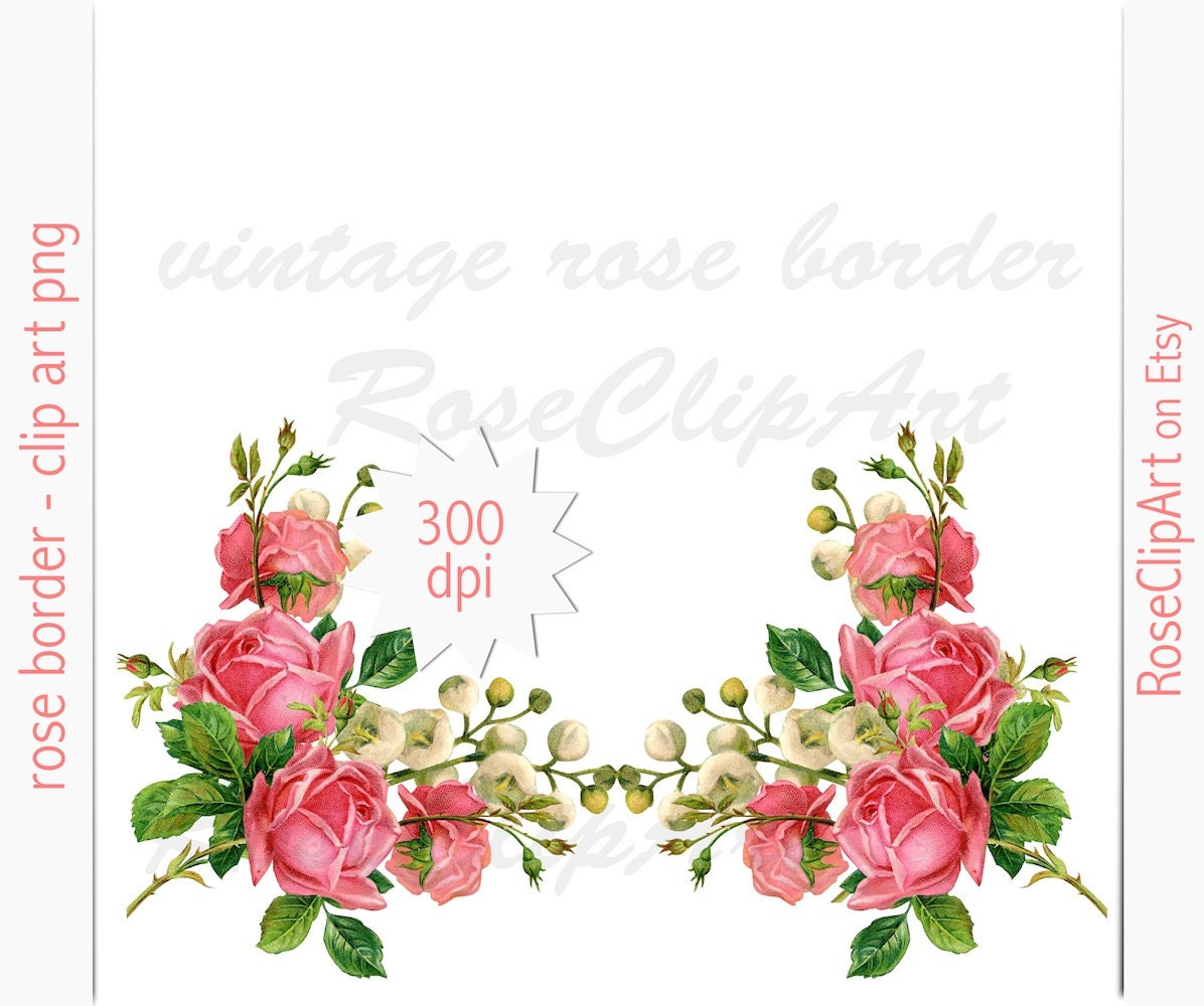 Digital rose border clip art instant download floral zoom kristyandbryce Image collections