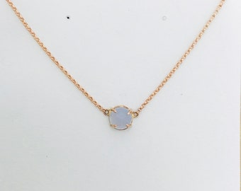 Chalcedony and Rose Gold Pendant